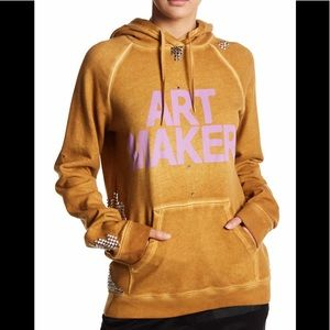 FreeCity Art Maker Studded Hoodie in Golden Temple
